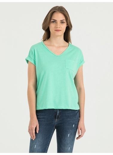 Loft V Yaka Tişört Yeşil
